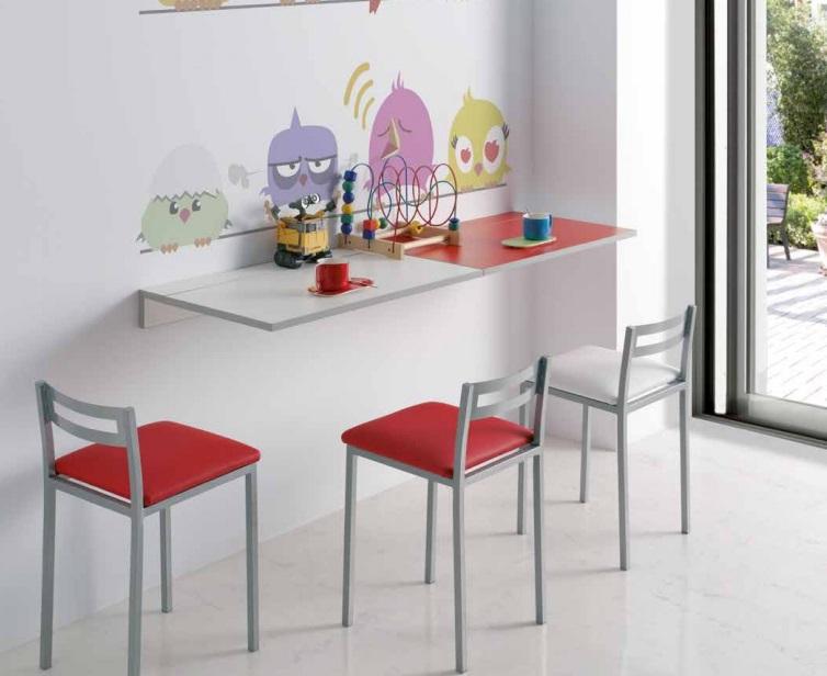 Mesa de cocina abatible Prades MDF rojo 10-50x80 cm