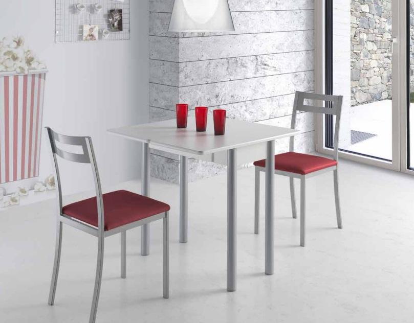 Mesa de cocina redonda extensible Pisa blanca 80x40-80 cm