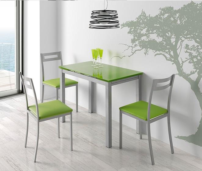 Mesa de cocina extensible Sintra cristal verde