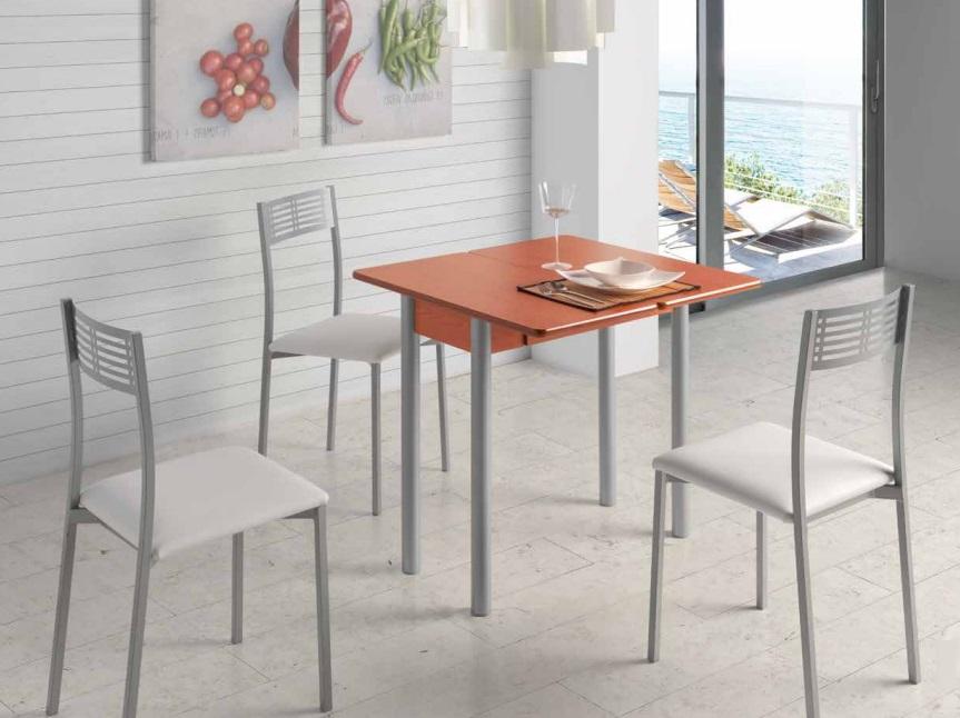 Mesa de cocina redonda extensible Pisa cerezo 80x40-80 cm