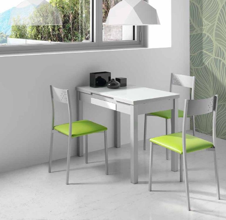 Mesa de cocina MDF gris cristal blanco Prisma