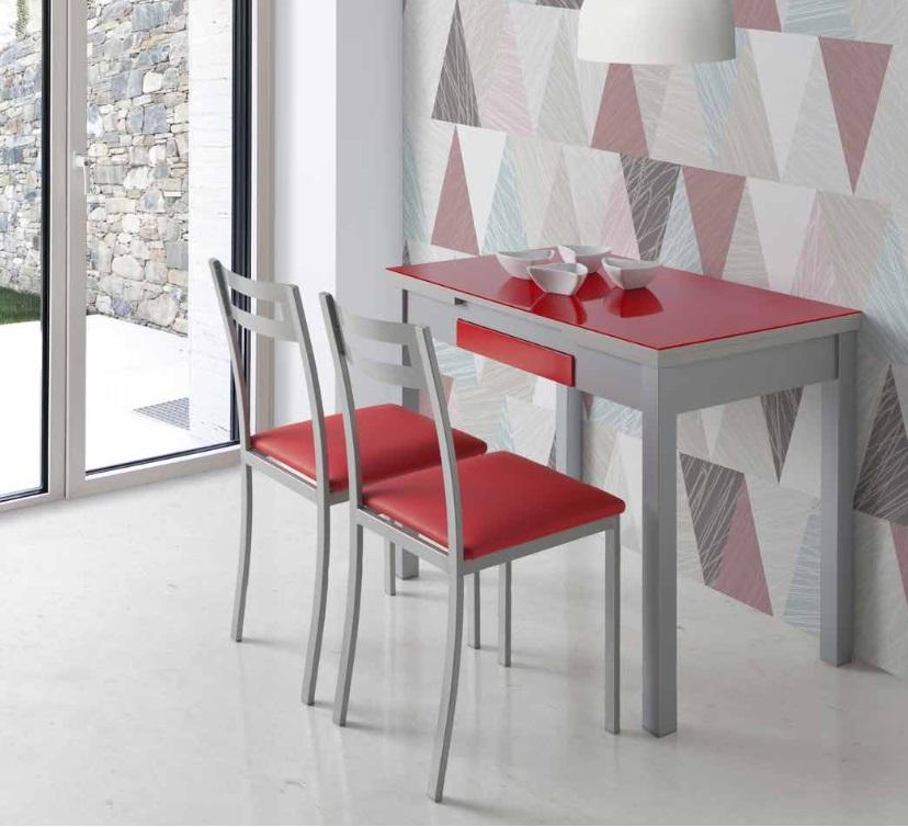 Mesa de cocina MDF gris cristal rojo Prisma