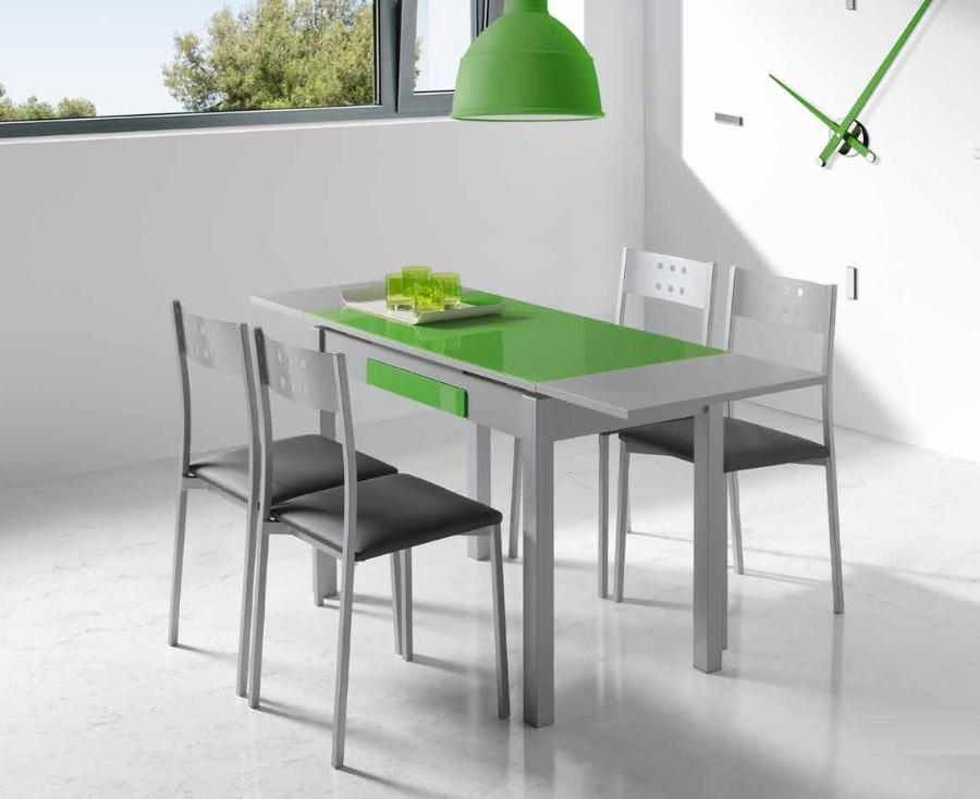 Mesa de cocina MDF gris cristal verde Prisma