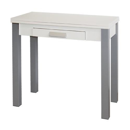 Mesa de cocina extensible Pavia blanca metal 80x40-80 cm