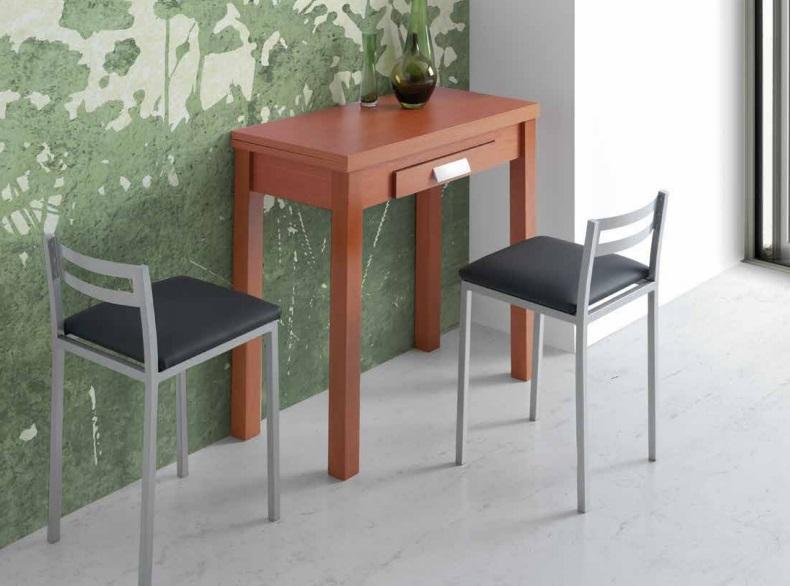 Mesa de cocina extensible Pavia cerezo 80x40-80 cm