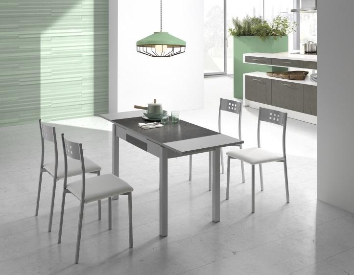 Mesa de cocina porcelanica gris roca Sagres 100-160x60 cm