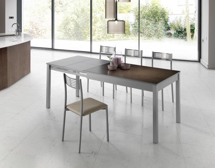 Mesa de cocina porcelanica marron wengue Coimbra 120-200x80 cm