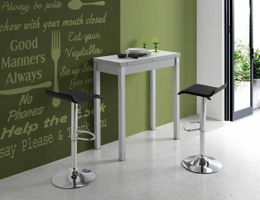 Mesa de cocina alta tipo libro MDF blanco Dijon