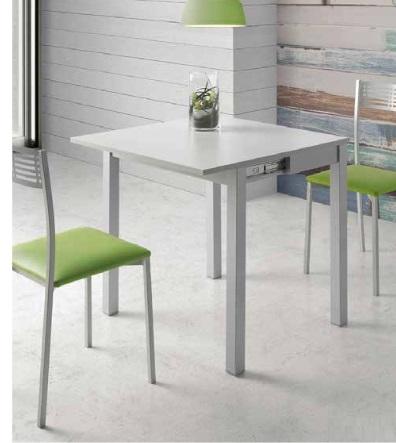 Mesa de cocina extensible tipo libro MDF blanco Dijon
