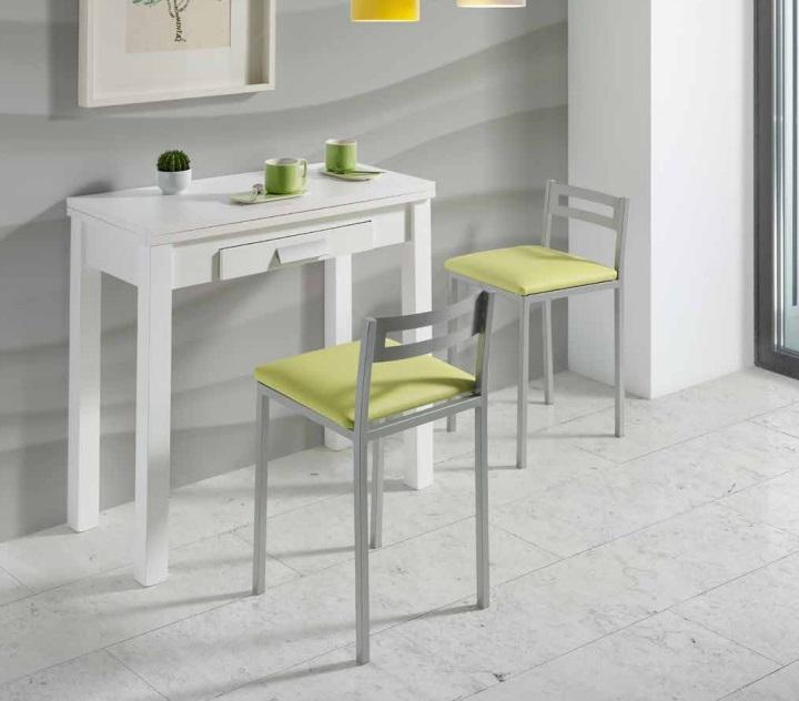 Mesa de cocina extensible Pavia MDF blanca 80x40-80