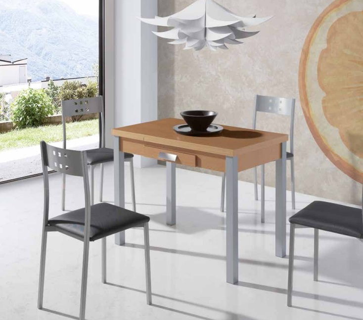 Mesa de cocina extensible Pavia roble metal 80x40-80 cm