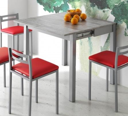 Mesa de cocina extensible madera gris Faro 90 x 45-90