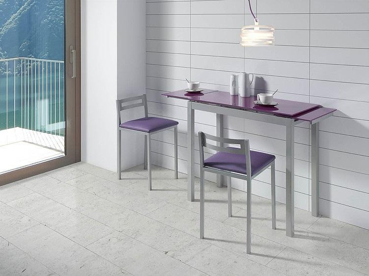Mesa de cocina extensible Lisboa cristal morado