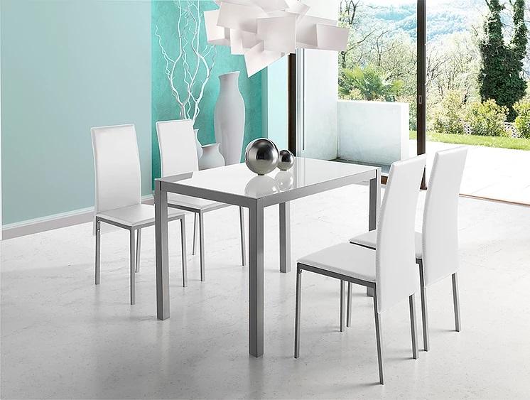Mesa de cocina Marsella cristal blanco puro 110x75