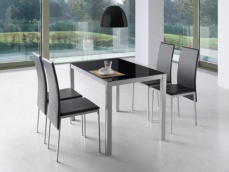 Mesa de cocina Marsella cristal negro 110x75