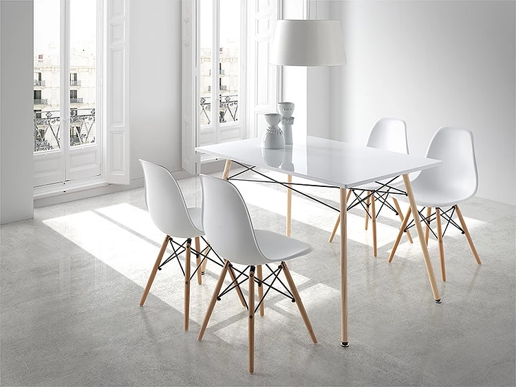 Conjunto de comedor tower nordico blanco