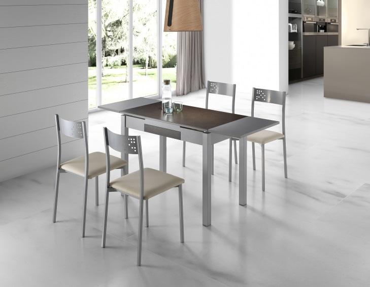 Mesa de cocina porcelanica marron wengue Sagres 100-160x60 cm