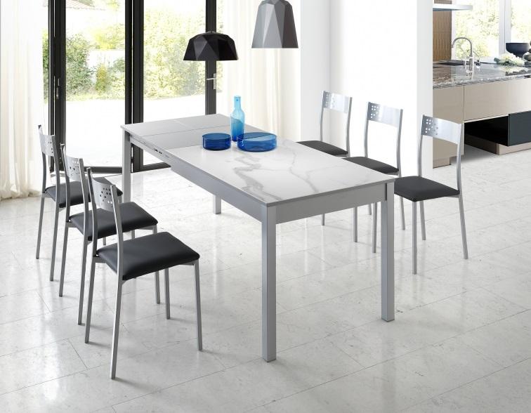 Mesa de cocina porcelanica blanco kalos Coimbra 120-200x80 cm