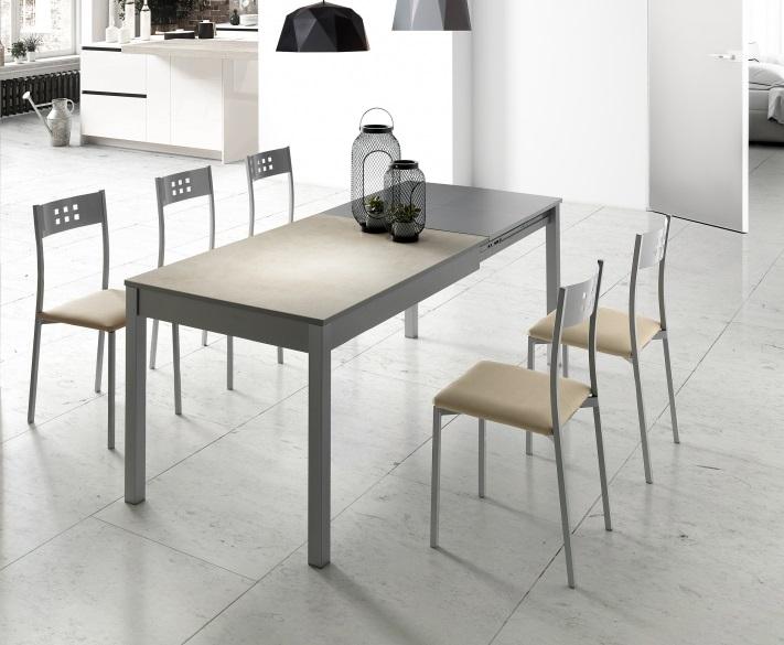 Mesa de cocina porcelanica blanco beige moka Coimbra 120-200x80 cm