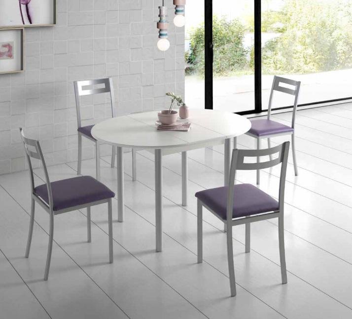 Conjunto de cocina mesa redonda extensible Lagos blanca sillas Oporto