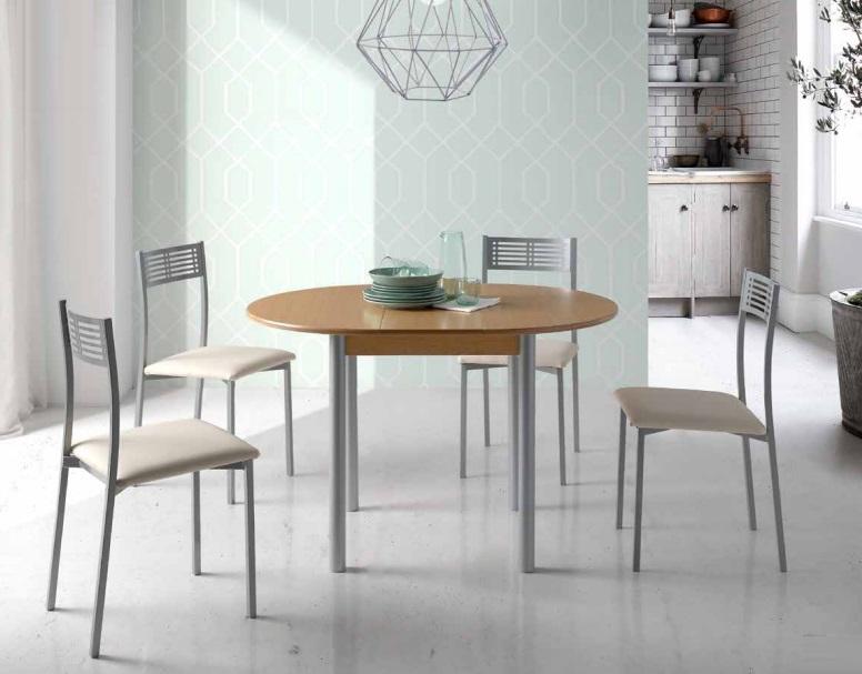 Conjunto de cocina mesa redonda extensible Lagos roble sillas Estoril