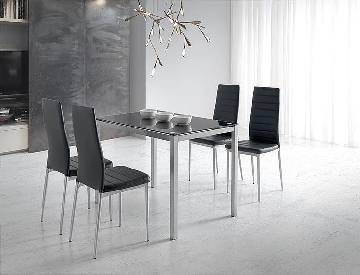 Mesa de cocina Silvia cristal negro 110x70