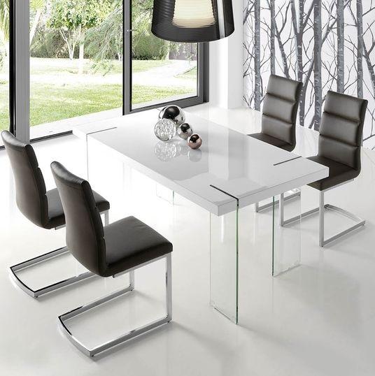 Conjunto de comedor mesa Atenas blanco brillo pie cristal sillas Nilo