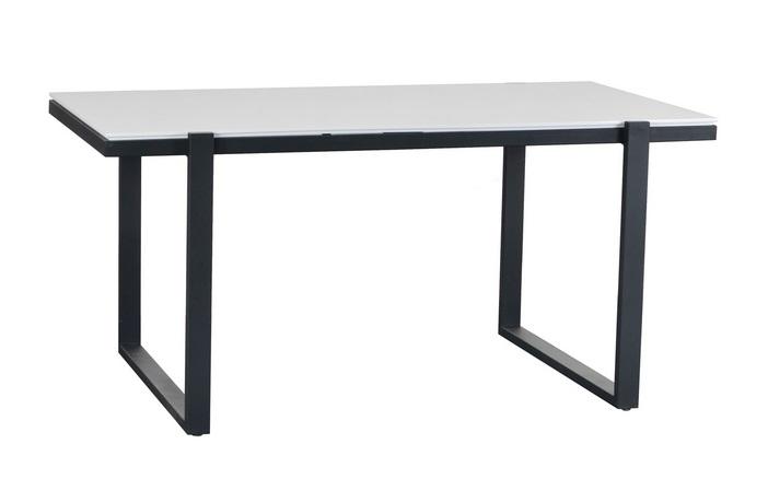 Mesa de comedor Liz blanco brillo metal negro 160x90