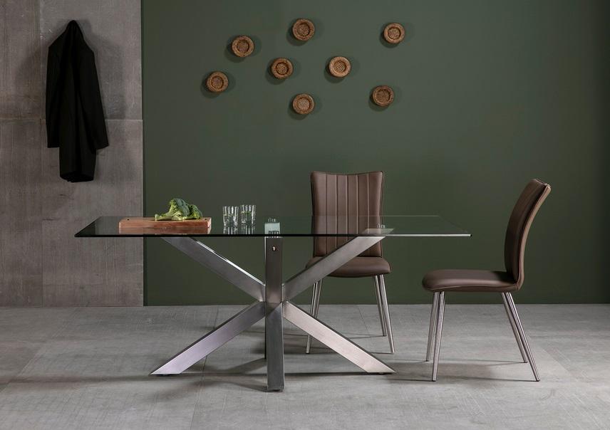 Mesa de comedor cristal acero inox Paula 180x100