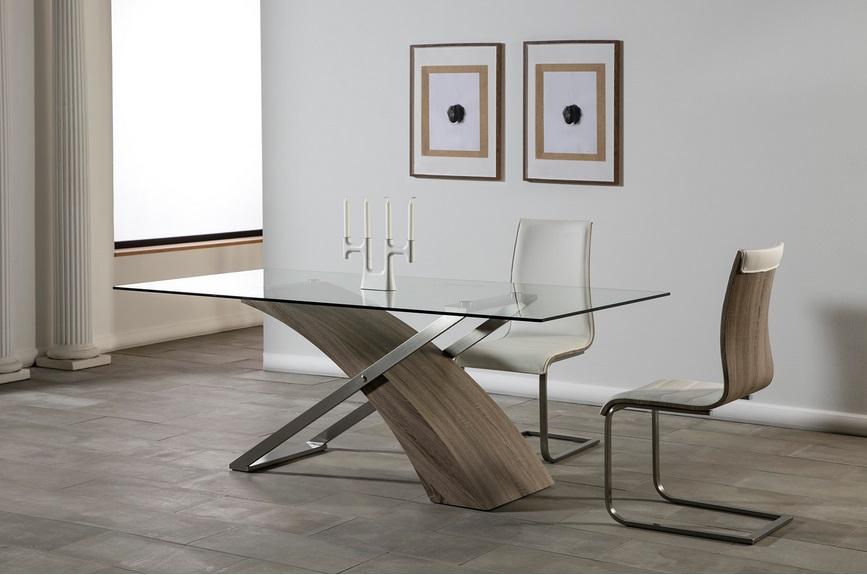 Mesa de comedor Aramis acero roble gris 200x100