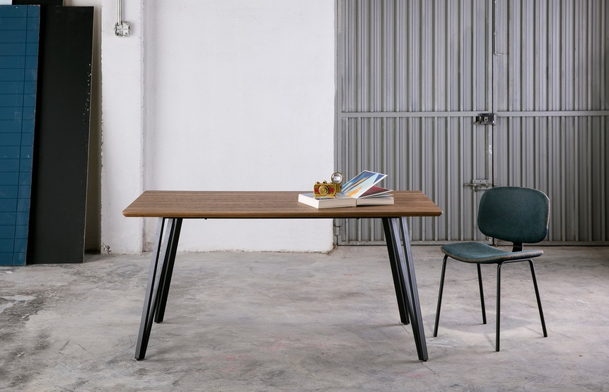 Mesa de comedor candi roble envejecido pies metal 160x90