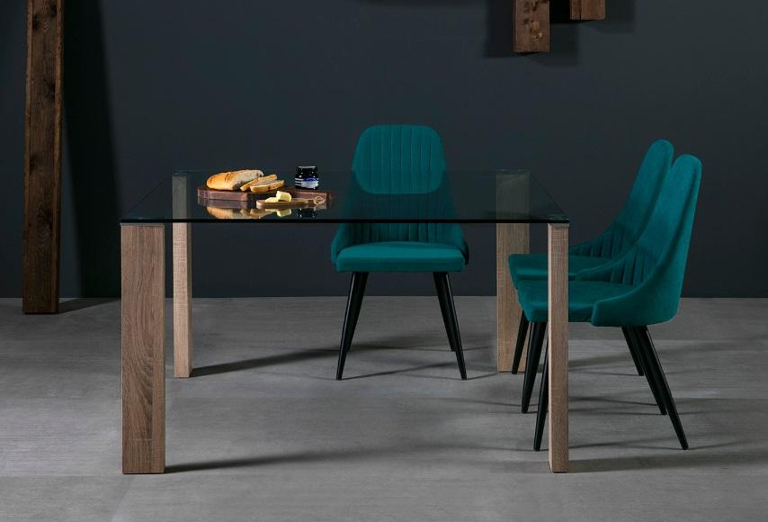 Mesa de comedor cuadrada Turin roble cristal 130x130