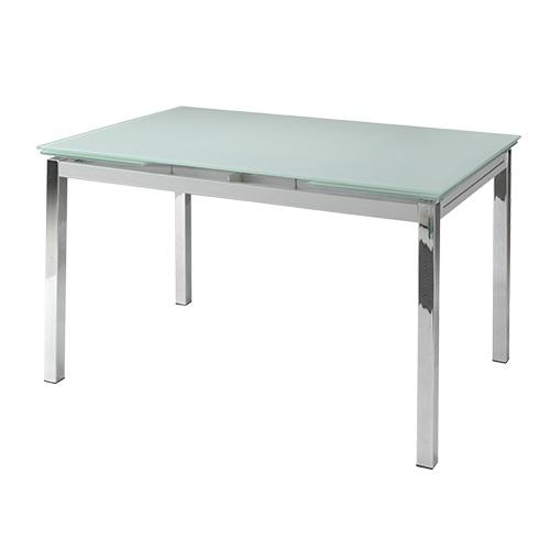 Mesa extensible cristal blanco cromada 140-200x90 Bianca