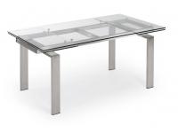 Mesa extensible acero cristal Square 160-240x85