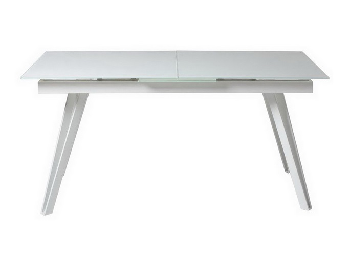 Mesa de comedor extensible Meslisa cristal blanco 160-200x90