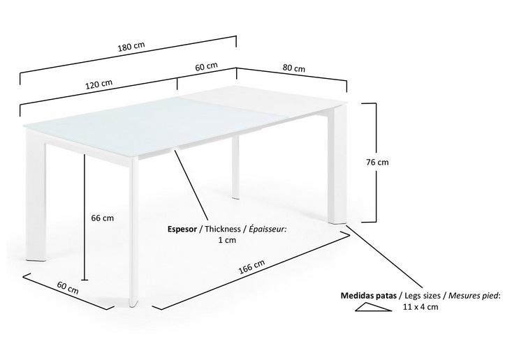 Mesa extensible lam cristal blanco 120-180x80