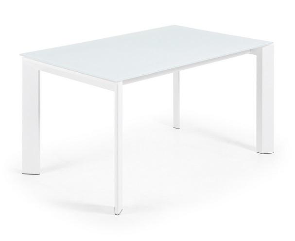 Mesa extensible lam cristal blanco 140-200x90