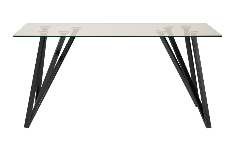 Mesa de comedor Gaia cristal templado acero negro 160x90