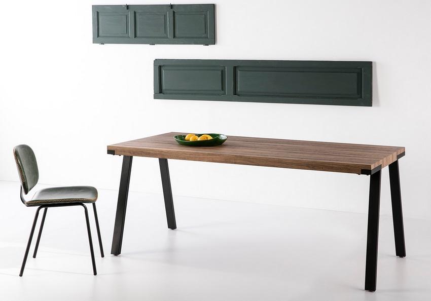 Mesa de comedor industrial vintage roble envejecido rocio 180x90