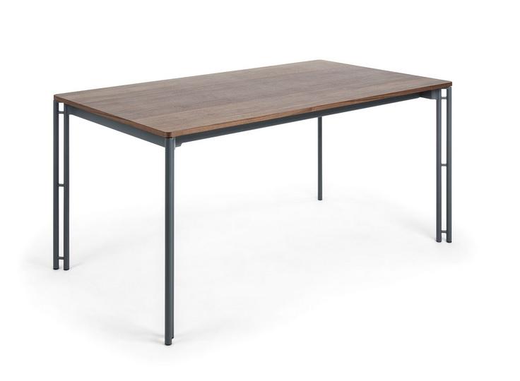 Mesa de comedor extensible antracita nogal 160-220x90
