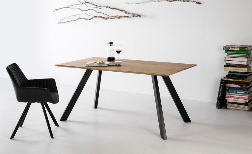 Mesa de comedor Mei industrial roble claro 160x90