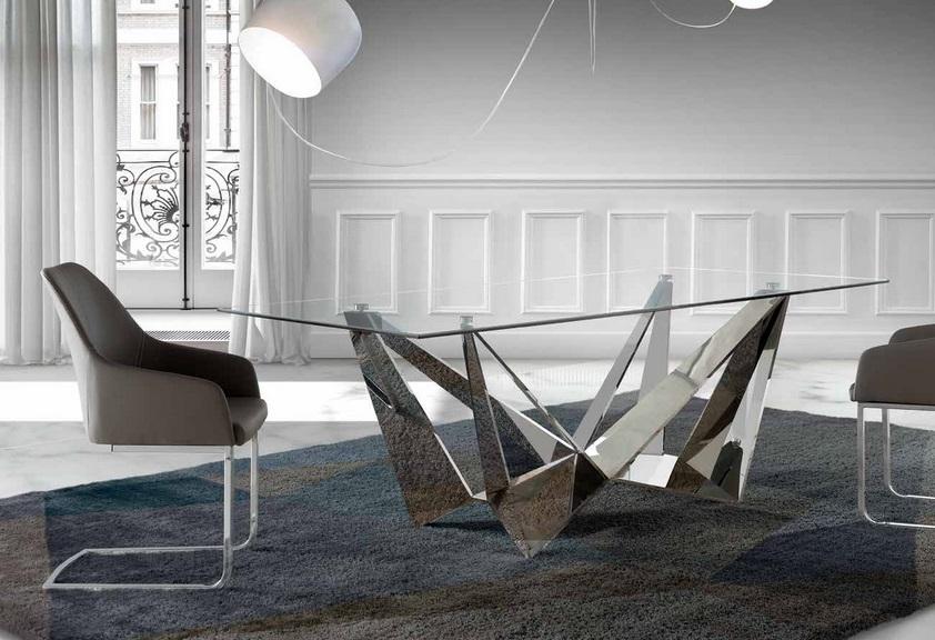 Mesa Paris cristal acero inox brillo 220x100