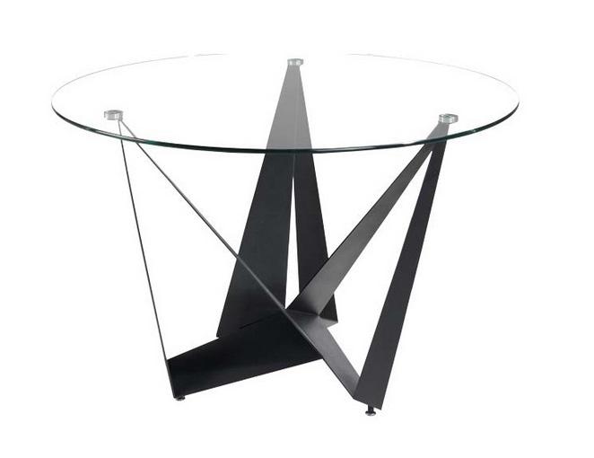 Mesa circular Bayonne cristal acero negro 120cm