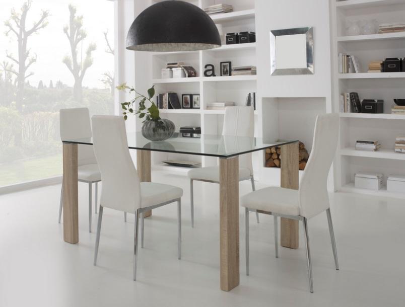 Mesa de comedor roble cristal templado turin 150x90