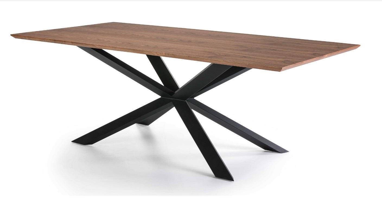 Mesa nogal acero negro Toulosse 200x100