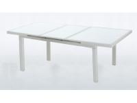 Mesa extensible rattan blanco Artic 180/240 x 100 cm