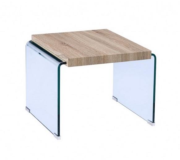 Mesa auxiliar Oslo cristal curvado madera 55x55