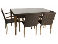 Mesa de rattan y madera Daisy