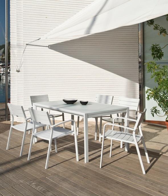 Mesa de terraza extensible Themis aluminio blanco 150-225x104