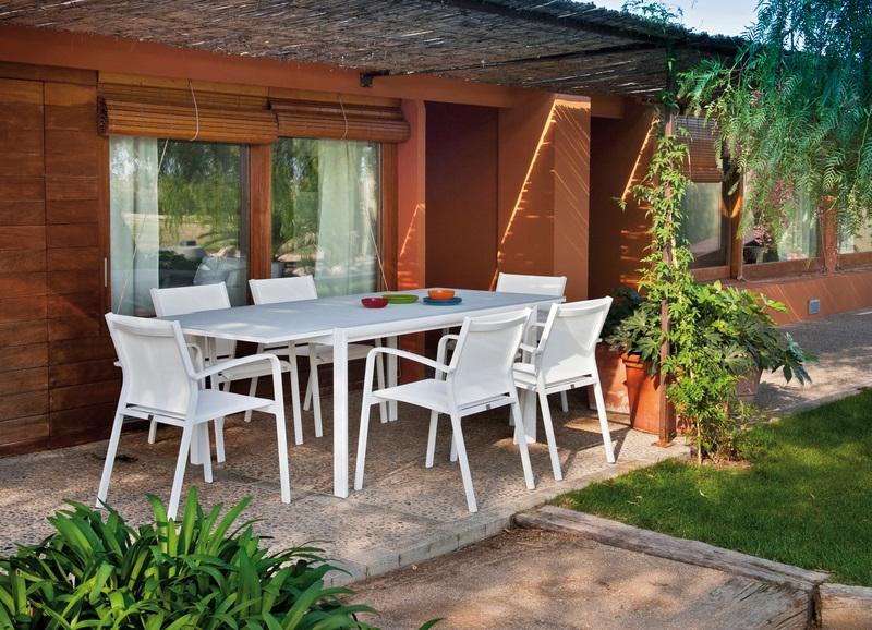 Conjunto de terraza mesa extensible themis silla Lawrence blanco